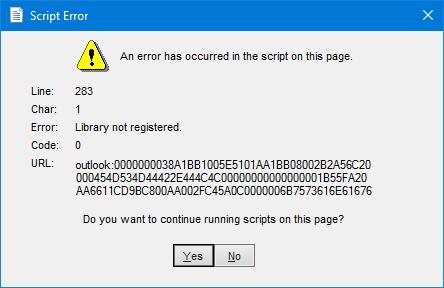 Outlook Script ErrorOutlook Script Error